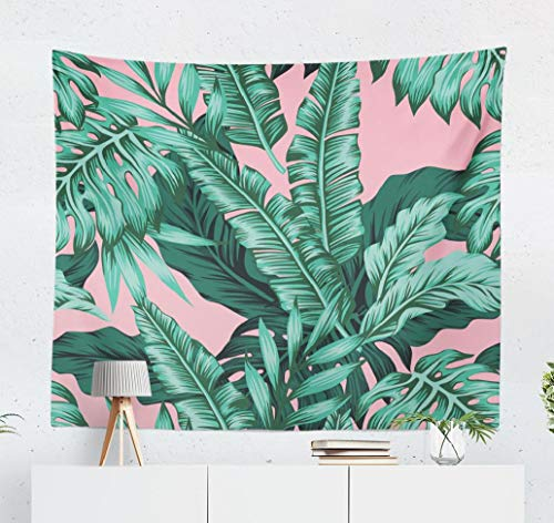 ASOCO Tropical Green Leaves Pink Tapestry, Tapestry Wall Hanging Exotic Wallpaper Leaf Tropic Wall Tapestry for Bedroom Living Room Tablecloth Dorm 60
