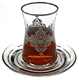 Nida Platinum Turkish Tea Glasses with Saucers Set (Set of 6) 5 Ounces