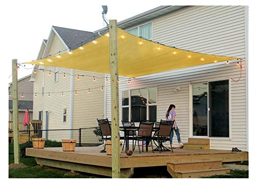 Patio Sun Shade Sail Canopy, 8' x 12' Rectangle Shade Cloth Outdoor Cover - UV Block Sunshade Fabric Awning Shelter for Pergola Backyard Garden Carport (Sand)