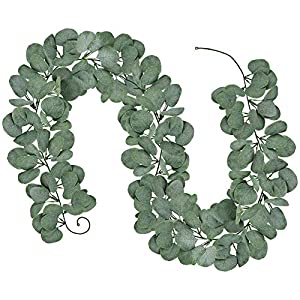 "6' Long 5.9"" Wide Artificial Silver Dollar Eucalyptus Leaves Garland 164 Pcs Leaves Christmas Holiday Season Greenery Garlands Fake Hanging Eucalyptus Leaf Garland in Grey Green for Centerpieces 12"