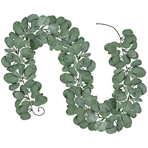 6 Long 5.9 Wide Artificial Silver Dollar Eucalyptus Leaves Garland 164 Pcs Leaves Christmas Holiday Season Greenery Garlands Fake Hanging Eucalyptus Leaf Garland in Grey Green for Centerpieces