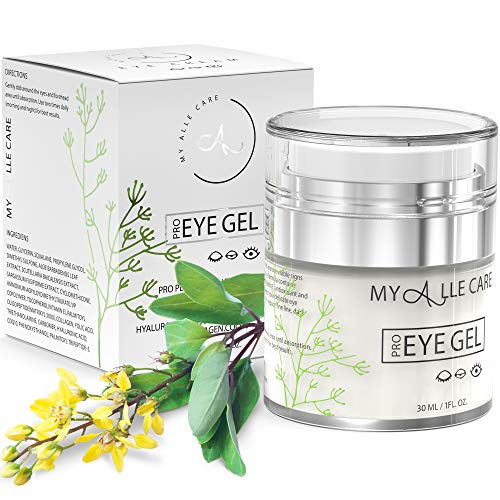 51BltwV0njL - Eye Gel with Hyaluronic Acid, Reduce Dark Circles, Puffiness and Eye Bags. Anti Wrinkle Under Eye Treatment, Hydrating Gel with Collagen, Aloe and Vitamin E, Anti Aging Cream for Men & Women