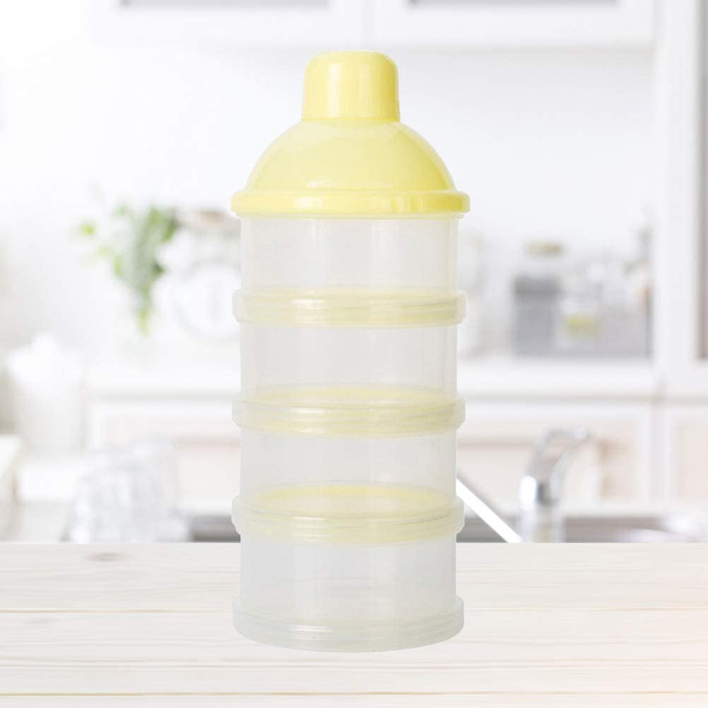 Drinks and More Nuts YeahiBaby 4 Layers Baby Milk Powder Formual Dispenser Twist Lock Non-Spill Stackable Container for Snacks Yellow
