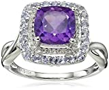 Sterling Silver Amethyst and Tanzanite and Diamond Ring (1/10cttw, I-J Color, I2-I3 Clarity), Size 7