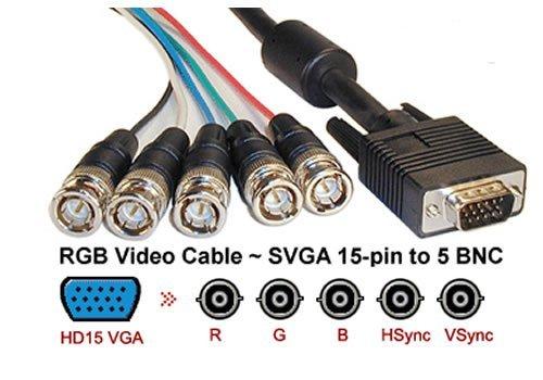 amazon com aya 10ft 10 feet coaxial hd15 vga to 5 bnc rgbhv male rh amazon com BNC to VGA Pinout BNC to VGA Converter Cable