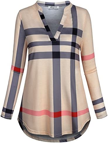 SeSe Code Womens 3/4 Roll Sleeve Shirt Notch Neck Loose Tops Plaid Tunic Blouse 2