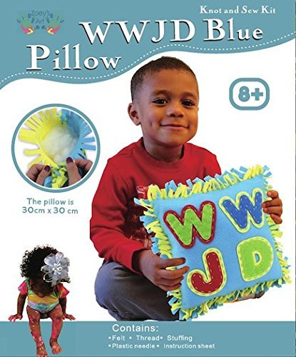 WWJD Blue Pillow, Knot Sew and Stuff Kit, All Inclusive, Fun for Everyone, Ages 5-12, Vibrant Colors, What Would Jesus Do Craft