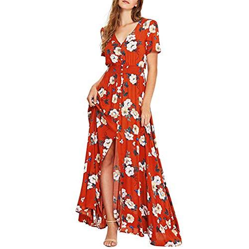 Women's Dresses Bohemian Floral V Neck Summer Short Sleeve Long Dress Button Up Split Beach Party Maxi Dress Red