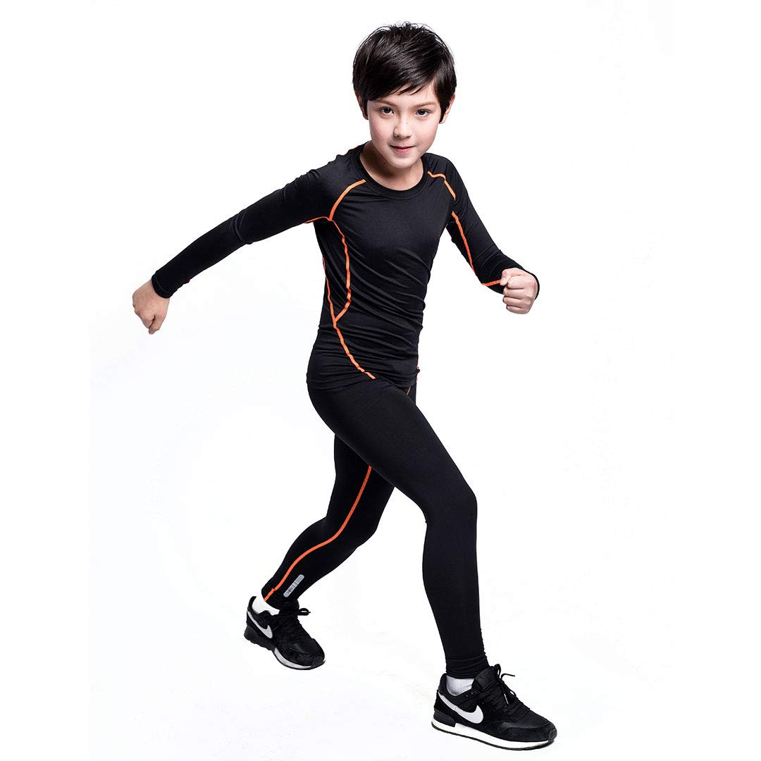 Tesuwel Boys Compression Pants Base Layers Tights Athletic Leggings Thermal for Kids