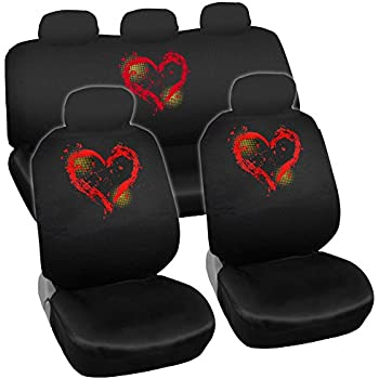 Prime New Design 11pc Red Hearts Car Seat Covers Set