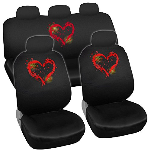 Prime New Design 11pc Red Hearts Car Seat Covers (Hearts Bucket Seat Cover)