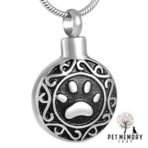 Pet Memorial Jewelry Urn Pendant - Choose from 6 Styles - Stores Ashes - Keepsake Paw Print Series Cremation Jewelry for Pet Memorial Ashes (Black Pawprint)