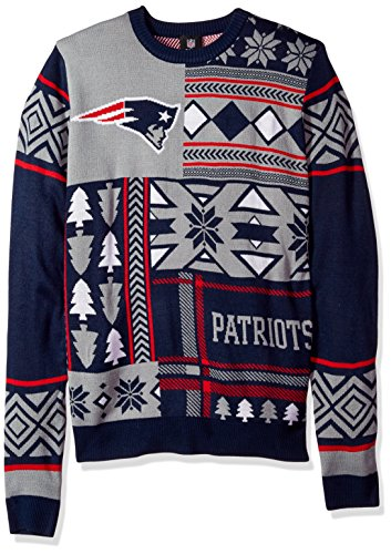 New England Patriots Patches Ugly Crew Neck Sweater Extra Large