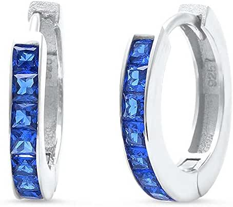 Princess Cut Simulated Blue Sapphire Hoo .925 Sterling Silver Earrings