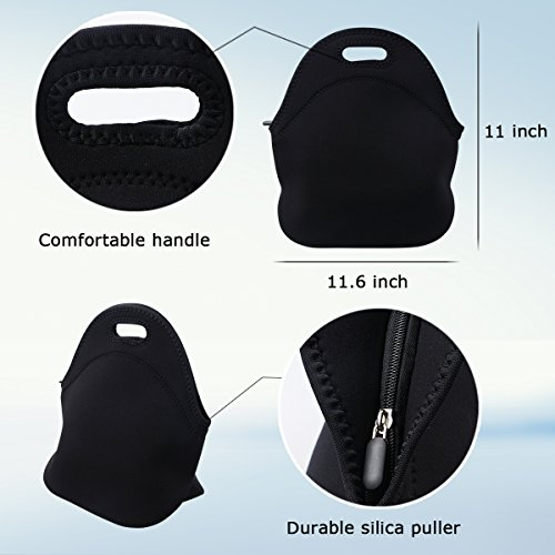 Lunch Tote, OFEILY Lunch boxes Lunch bags with Fine Neoprene Material Waterproof Picnic Lunch Bag Mom Bag (Black) by Ofeily (Image #3)