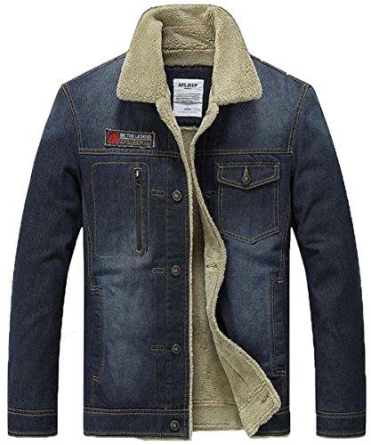 JIAX Men's Winter Warm Trucker Denim Jacket Thicken Lambs Wool Jean Coat (US Large, 2061A Black) Denim Barn Coat