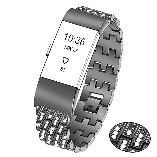 Black Butterfly Silver Link Watch - Kaleidoc For Fitbit Charge 2 Metal Replacement Bands, Premium Rhinestone Jewelry Accessories Wristband/Adjustable Classy Bracelet Strap for Fitbit Charge 2 (Rose Gold, Gold, Silver, Black)