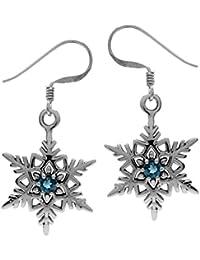 Genuine London Blue Topaz Antique Finish 925 Sterling Silver Snowflake Dangle Hook Earrings