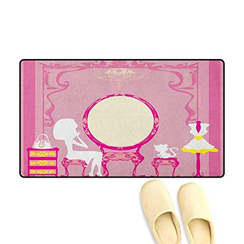 zojihouse Girls Bathroom Mat for tub Non Slip Lady Sitting in Front of French Cosmetic Make-Up Mirror Furniture Dressy Design Size:16