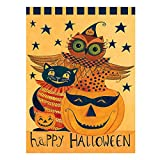 Wamika Happy Halloween Pumpkin Owl Black Cat Double Sided House Flag Garden Banner 28″ x 40″, Halloween Trick Or Treat Fall Festive Autumn Garden Flags for Anniversary Yard Outdoor Decoration Review
