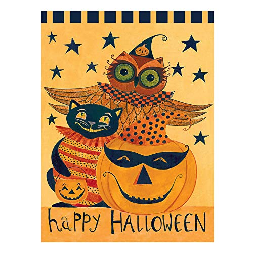 Wamika Happy Halloween Pumpkin Owl Black Cat Double Sided Garden Yard Flag 12
