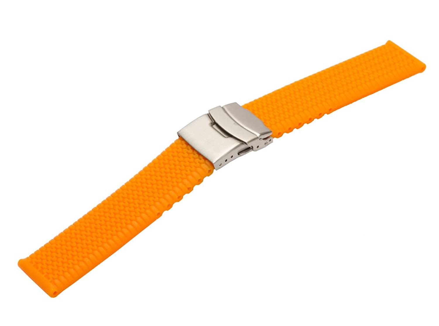 Strapped for時間24 mmオレンジTire Tread Silicone Rubber Watch Band with Deployment Clasp  B01M1JHT15