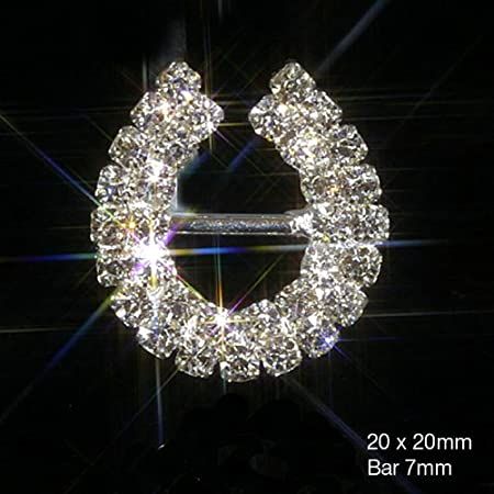 10 X Lucky Horseshoe Ribbon Slider Buckles Diamante Embellishments Crystal Wedding Invitations Cards Crafts