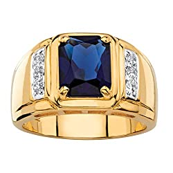 Men's 18K Yellow Gold Plated Genuine Square Cut Blue Sapphire Diamond Ring (1/5 cttw, I Color, I3 Clarity)