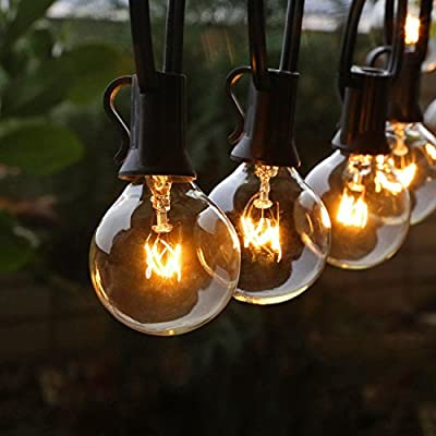 Goothy Globe String Lights with G40 Bulbs (25ft.) UL Listed Backyard Patio Lights Garden Bistro Party Natural Warm Bulbs Cafe Hanging Umbrella Lights on Light String Indoor Outdoor