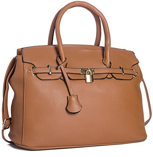 Big Handbag Shop Womens Faux Leather Designer Inspired Tote Shoulder Bag (Tan) ()