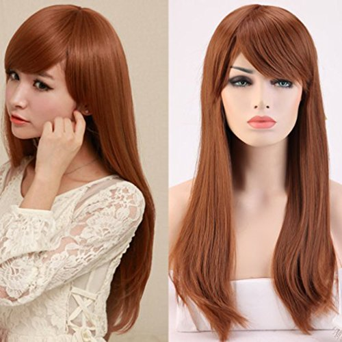 Heat Resistant Synthetic Wig Japanese Kanekalon Fiber 10 Colors Full Wig with Bangs Long Straight Full Head for Women Girls Lady Fashion and Beauty 23'' / 58cm (Light (Sexy Ginger)