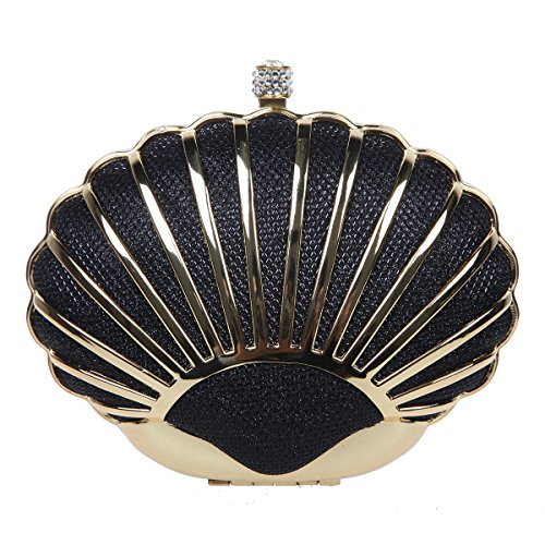 Fawziya Glitter Seashell Clutches And Evening Bags Mini Hard Shell Clutch Purse-Black