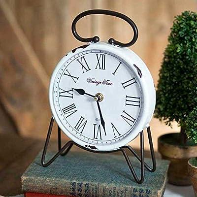 White Distressed Vintage Time Tabletop Clock -  - clocks, bedroom-decor, bedroom - 51BlxLAWbLL. SS400  -