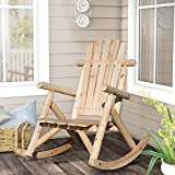 Merax. Log Rocking Chair Single Outdoor Patio Chair Rustic Rocker Chair for Backyard (Natural)