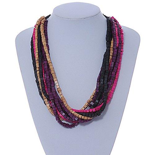 Avalaya Multi-Strand Lime Purple//Black//Magenta//Beige Wood Bead Adjustable Cord Necklace 46cm to 58cm L