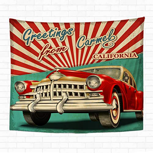 Topyee 50x60 Inch Tapestry Wall Hanging Vintage Touristic Greeting Card with Retro Car Carmel Californiaadvertising America Home Decorative Tapestries Wall Blanket for Dorm Living Room Bedroom