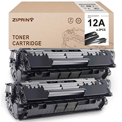 (ZIPRINT Compatible Toner Cartridges Replacement for HP 12A Q2612A for HP Laserjet 1010 1020 1012 1022 1022n 3015 3055 1018 3030 Printer (Black, 2-Pack))