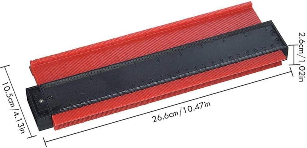 25,4 cm en Plastique Multifonction avec Lignes irr/éguli/ères et Profondes Volwco Outil de Mesure de profil/é pour Contour de Contour duplicateur Professionnel en Forme de Travail du Bois