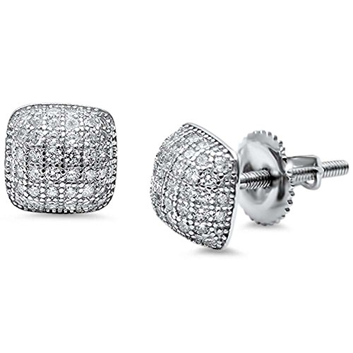 - 6mm Dome Design Earrings Round Pave Simulated Cubic Zirconia 925 Sterling Silver Unisex Men Women Stud Screwback