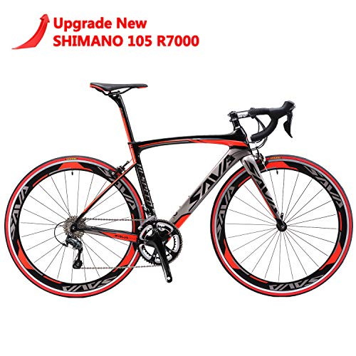 - SAVADECK Carbon Road Bike, Windwar5.0 Carbon Fiber Frame 700C Road Bicycle with Shimano 105 22 Speed Groupset Ultra-Light Bicycle (Red, 54cm)