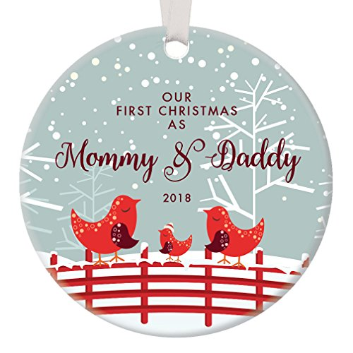 Our First Christmas as Mommy and Daddy, 1st Xmas Ornament for New Parents, Bird Family Mom Dad Baby Newborn Pretty Circle Ceramic Congrats Present 3 Flat Porcelain w/White Ribbon & Free Gift Box