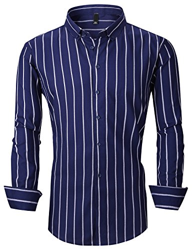 Dress Shirt Stripe (XTAPAN Men's Long Sleeve Casual Slim Fit Vertical Striped Button Down Dress Shirt US L=Asian 4XL Dark Blue 903)