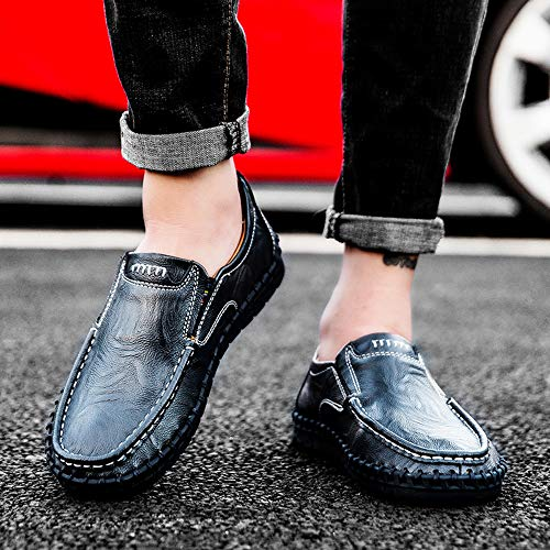 Images of VILOCY Men's Leather Slip On Loafers 3358*19 Blue