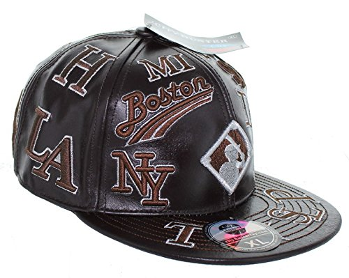 Negro League Baseball Fitted Leather Hat Embroidered Logo Cap - Dark Brown    Sports   Outdoors 28b36c69762b
