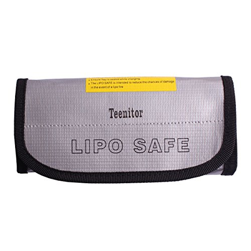 Teenitor® Fireproof Explosionproof Lipo Battery Safe Bag Lipo Battery Guard Safe Bag Pouch Sack for Charge & Storage 185x75x60mm Large size …