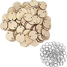 Bememo 100 Pieces Round Wooden Discs with Holes Birthday Board Tags and 100 Pieces 15 mm Rings for Arts and Crafts