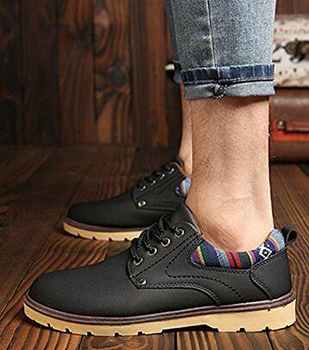 Idifu Heren Casual Ronde Neus Lage Top Veter Platte Sneakers Korte Laarzen Zwart