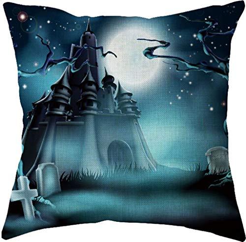 Halloween Pillow Cover,Spirit of Halloween Thriller Throw Pillow Covers 100% Cotton Linen Zipper Closure, Cushion Couch Pillow Covers (D, -