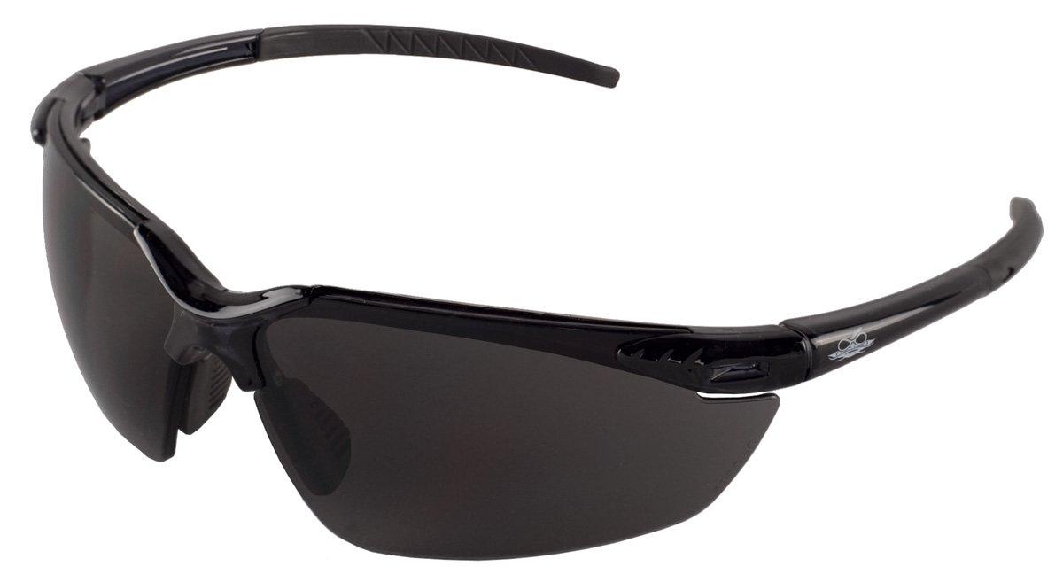 Bullhead Safety Eyewear BH1133 Marlin, Crystal Black Frame, Dark Smoke Lens, Steel Gray TPR Nose & Temple (1 Pair)