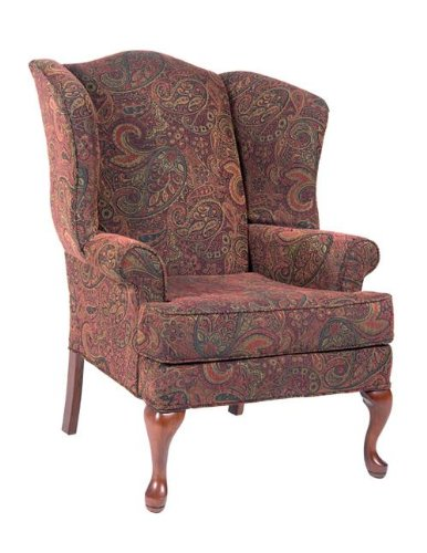 (Comfort Pointe Paisley Cranberry Wing Back Chair)